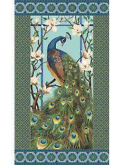 Peacock Paradise Blue Panel - 24