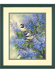 Chickadees and Lilacs Paint-by-Number Kit
