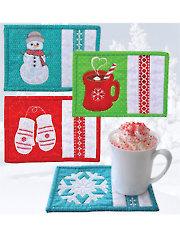 Winter Mug Rugs Pattern w/Embroidery CD