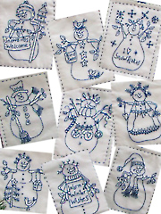 Snowmen by the Dozen Hand or Machine Embroidery Pattern