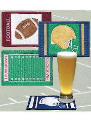 Football Mug Rugs Pattern w/Embroidery CD