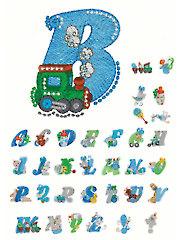 Mylar Swirly Baby Boy Alphabet Embroidery CD