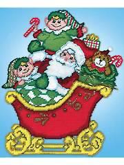 Santa in Sleigh Plastic Canvas Kit