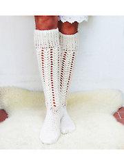 Aran Cabled Long Socks Crochet Pattern