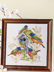 Painted Buntings Birdhouse Cross Stitch Pattern