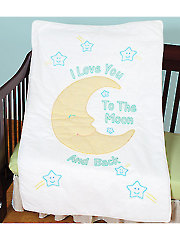 Love You to the Moon Prestamped Crib Quilt Top