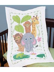Jungle Prestamped Crib Quilt Top