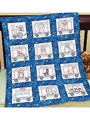 "Circus Train 9"" Prestamped Nursery Quilt Blocks"