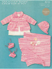 Sirdar Snuggly Baby Crofter 4-Ply 4616: Baby Girl Knit Set