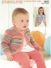 Sirdar Snuggly Baby Crofter DK 4633: Cardigan Knit Pattern