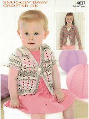 Sirdar Snuggly Baby Crofter DK 4637: Eyelet Cardigan Knit Pattern