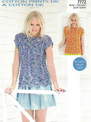 Sirdar Cotton DK Prints 7772: Top Knit Pattern