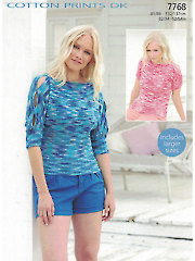 Sirdar Cotton DK Prints 7768: Sleeved Top Knit Pattern