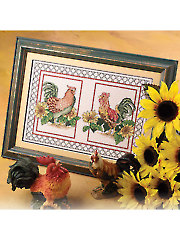 Roosters With Sunflowers