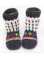 Fair Isle Booties for Kids Crochet Pattern - Electronic Download
