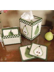Country Pears Tissue Cover and Coasters