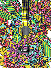 Pencil-by-Number Blooming Guitar