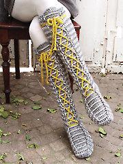 Laced Knee-High Socks Crochet Pattern