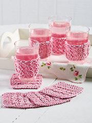 Hourglass Rib Coasters & Glass Jackets Knit Pattern YK01096