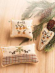 Fall Pincushion Trio Cross Stitch Pattern