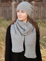 ANNIE'S SIGNATURE DESIGNS: Beguiling Basketweave Knit Cap & Scarf
