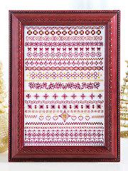 Garnet & Gold Greetings Cross Stitch Pattern
