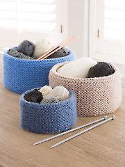Garter Stitched Baskets Knit Pattern