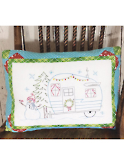 Candy Cane Camping Pillow Embroidery Pattern