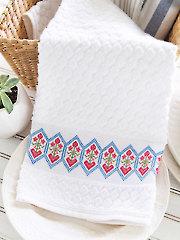 Hearts & Flowers Towel Band Cross Stitch Pattern