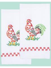 Rooster Prestamped Hand Towels - 2/pkg
