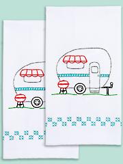 Camper Prestamped Hand Towels - 2/pkg