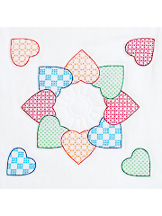 Patchwork Hearts White 18
