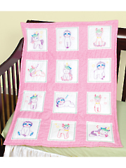 "Baby Animals 9"" Prestamped Nursery Quilt Blocks Pattern"