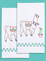 Llamas Prestamped Hand Towels - 2/pkg