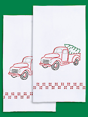 Old Truck Prestamped Hand Towels - 2/pkg. Pattern