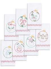 Christmas Ornaments Prestamped Hand Towel Set - 7/pkg. Pattern