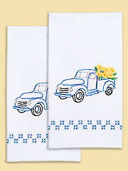 Blue Truck Prestamped Hand Towels - 2/pkg