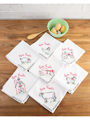 Farm Fresh Embroidered Towels Pattern