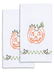 Halloween Pumpkin Prestamped Hand Towels 2/pkg
