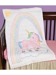Unicorn Prestamped Crib Quilt Top