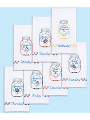 Mason Jars Days of the Week Decorative Prestamped Hand Towel Set 7/Pkg
