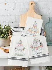 Spring has Sprung Embroidered Tea Towels Pattern
