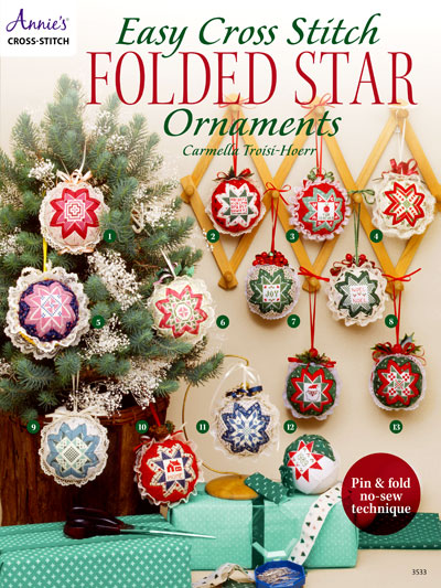 Easy Cross Stitch Folded Star Ornaments
