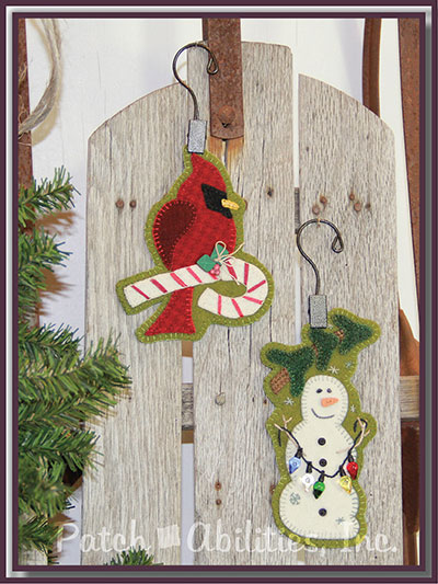 Candy Cane Cardinal & Lit Snowman Ornament Sewing Pattern & Button Pack