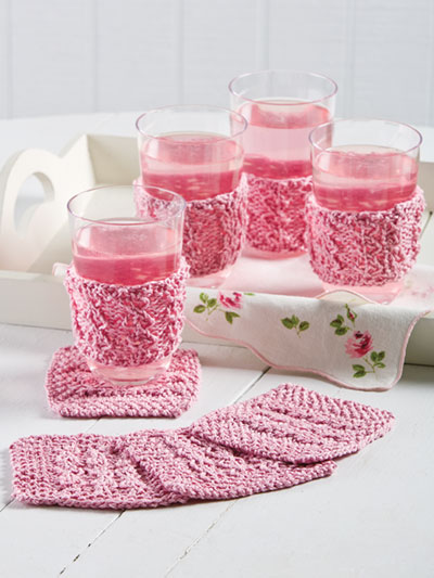 Hourglass Rib Coasters & Glass Jackets Knit Pattern