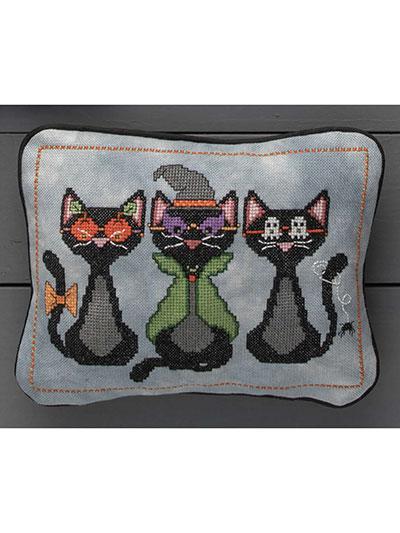 Masked Black Cats Cross Stitch Pattern