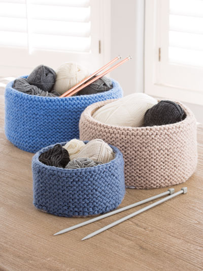 Garter Stitched Baskets Knit Pattern