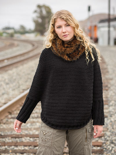 ANNIE'S SIGNATURE DESIGNS: Take Me Places Sweater & Faux-Fur Cowl Crochet Pattern - Electronic Download