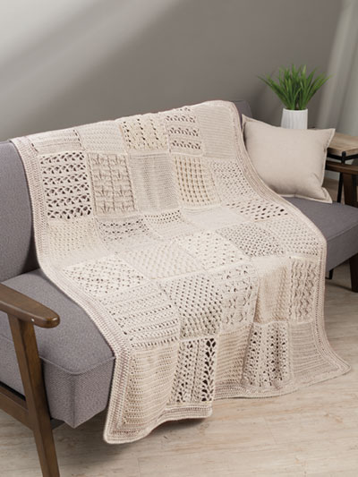 Stitch Sampler Afghan Crochet Pattern - Electronic Download