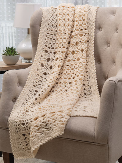 Easy Lace Sampler Throw Crochet Pattern - Electronic Download